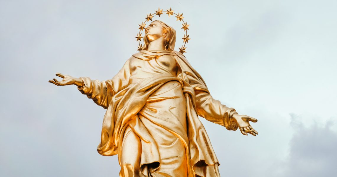 Virgin Mary Gold Statue
